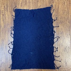 Accessories - Infinity scarf with beads and fringe navy blue